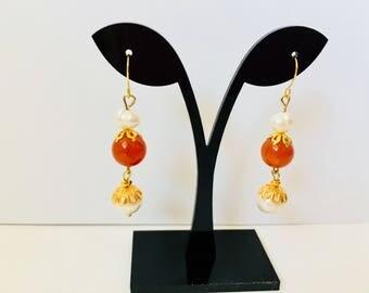 Dangle Earrings,Drop Earrings,Freshwater Pearl Dangle Earrings,Pearl Drop Earrings,Orange Earrings,Orange Dangle Earrings,Pearl Earrings