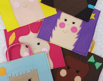 cute faces children's party loot goodie favour felt bags - pack of six