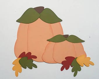 Fall Pumpkins with leaves Premade Scrapbook Pages Die Cut
