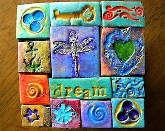 dragonfly, decorated box, polymer clay mosaic, dream, trinket box