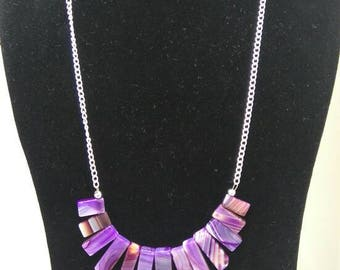 Agate Gemstone Necklace/purple Agate bars