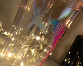 Unicorn Clear Plastic Tumbler with Straw, Iridescent,  16oz tumbler,  Gift, customized, Inspirational, foil, little girl gift, Unicorns
