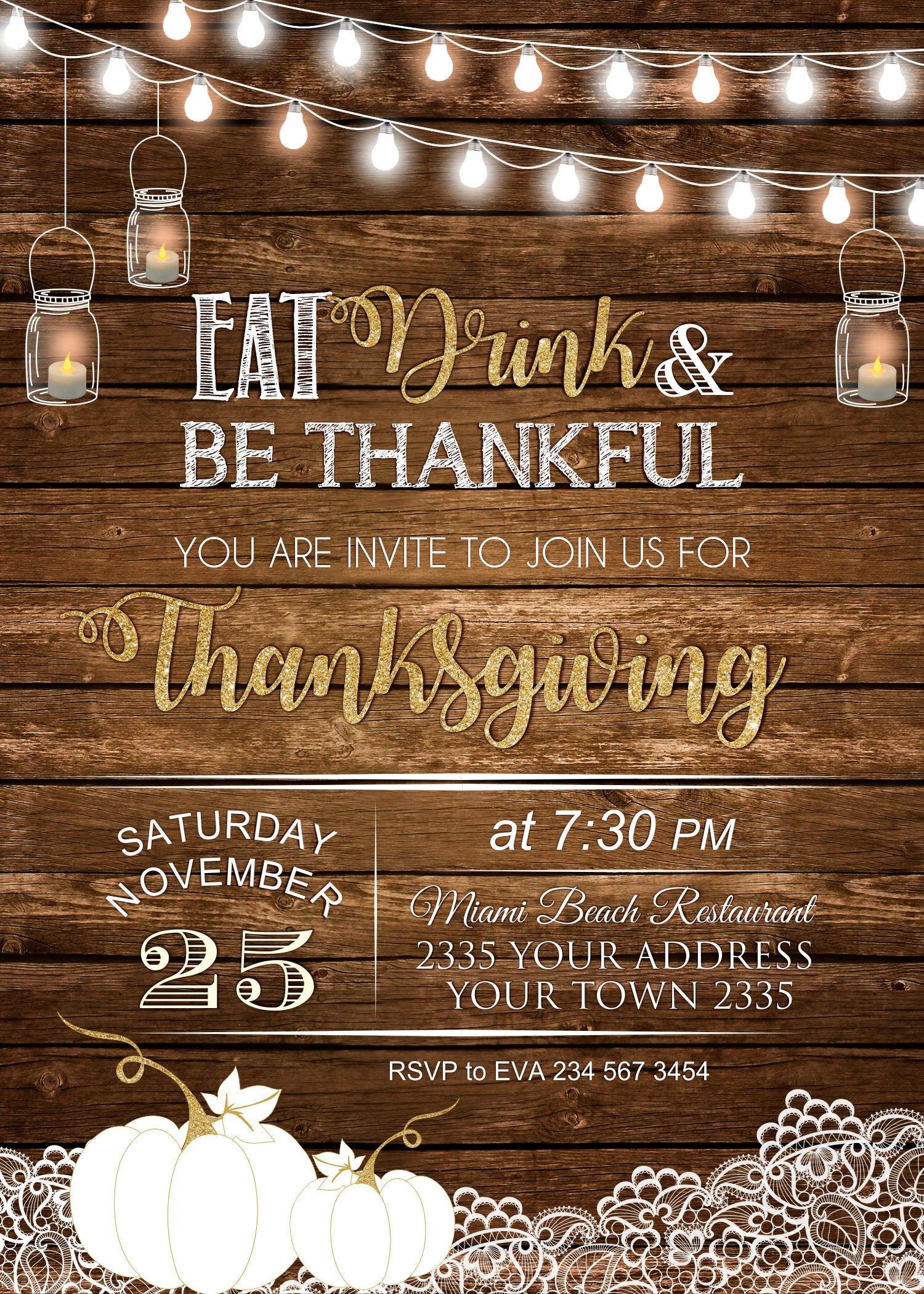 Eat Drink Be Thankful Invitation Thanksgiving Dinner InvitationThanksgiving Friendsgiving