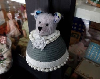 Jewelry holder's mohair bear, handmade