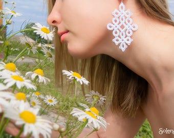 White lacework Wedding Earrings Coolness | Large Snow white tatting earring | New Year's Jewelry | Big marriage Earrings | tattinglace |
