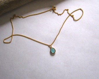 gold plated chain with crystal pendant
