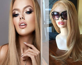 Honey Blonde (#27) Remy Human Straight Hair Lace Wig