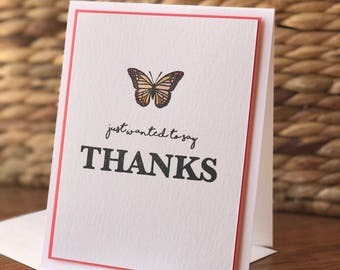 Thank You Butterfly Card - bright salmon