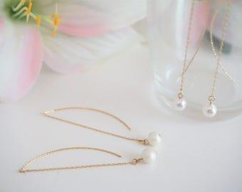 Pearl Drop Earrings, Pearl Dangle Earrings, Swarovski Pearl Earrings, White Pearl Earrings, Pearl Jewelry, E10