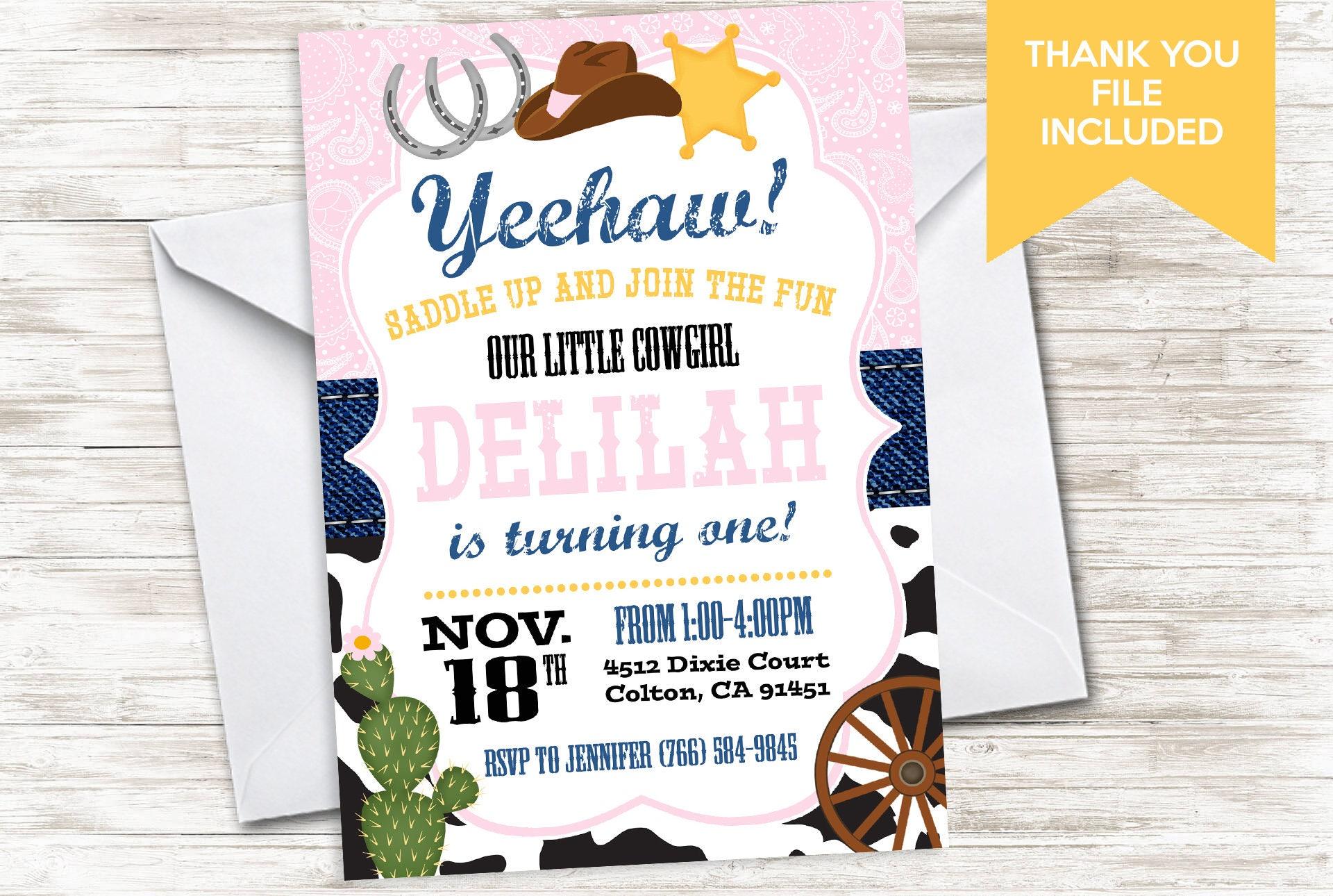 Cowgirl Birthday Invite Invitation Digital Pink Cowprint Party 5x7 ...