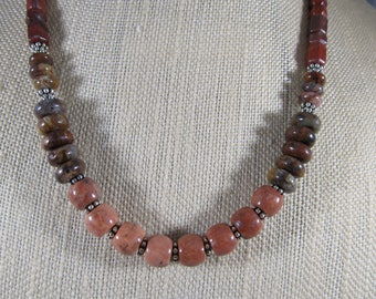 Earth tone beaded necklace.