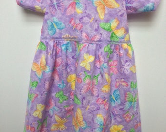 Purple Sparkly Butterflies Back to School Cotton Dress 2T- Girls 14