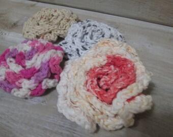 Crochet face scrubbies/cotton scrubbies/ecofriendly/Reusable/Makeup remover/Crochet rose/Crochet round scrubbie/Crochet flower/Mother gift