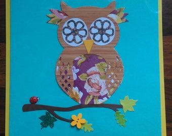 Set of 3 Handmade Owl Cards. Greeting card, birthday card, blank card, die cut card, paper cut card.