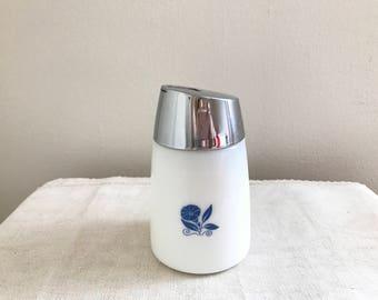 Sugar Dispenser Milk Glass Blue Morning Glory Flower Design Vintage