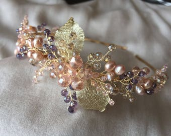 Bridal headpiece, wedding tiara, freshwater bridal tiara, wedding headband, hair accessory