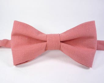 Coral Bow Tie Linen Bow Tie Coral Bow Tie For Men Mens Bow Tie Wedding Bow Tie bow tie for men Coral Boy's bow tie toddler pink bow tie.