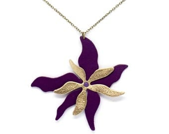 """Handmade Leather flower """"Single Ylang Ylang"""" Purple and gold necklace"""