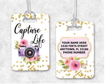 Photographer Luggage Tag, Gift For Photographer, Bag Tags, Gym Bag, Camera Bag Tag, Girly Luggage Tag, Photography Gifts, Custom Luggage Tag