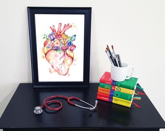 Medical Anatomy Art- Stunning Watercolour Flower Brain PRINT