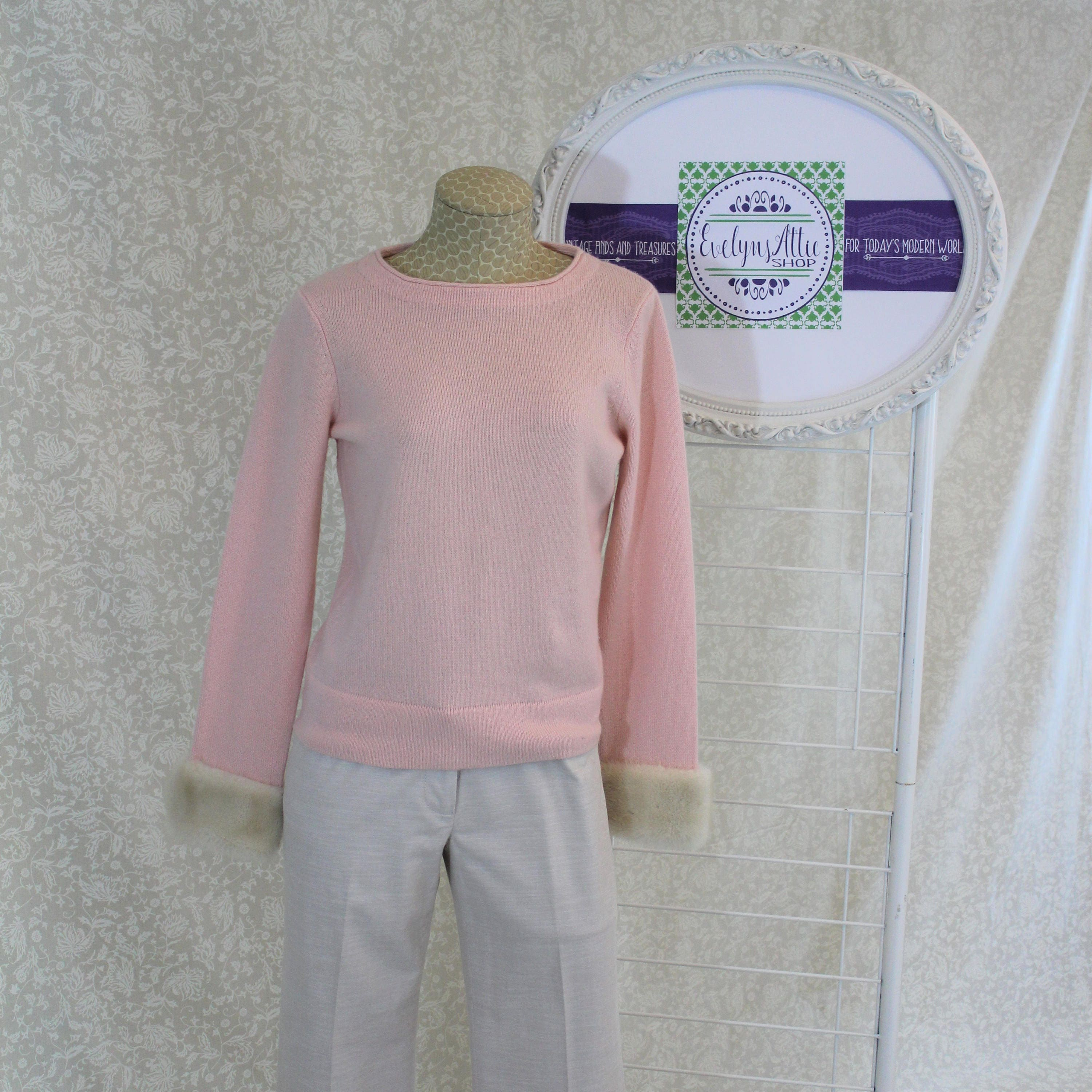 Pink Cashmere Sweater with White Mink Cuffs from Saks Fifth Avenue ...