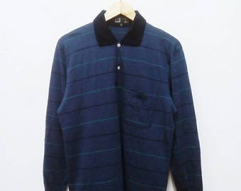 Hot Sale!!! Rare Vintage 90s DUNHILL Wool Striped Long Sleeve Polo Shirt Hip Hop Skate Swag Made In Italy Medium (40) Size
