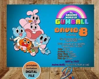 Amazing World of Gumball, Gumball party, Gumball birthday, Gumball Invitation, Darwin Invitation, Amazing World of Gumball Invitation