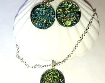 Green dichroic glass fusing glass earrings
