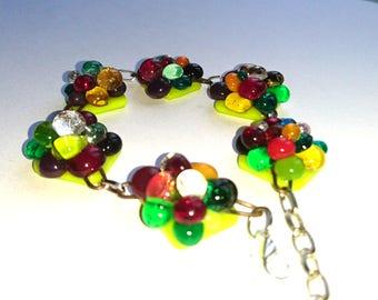 GRAPE cluster glass fusing glass bracelet