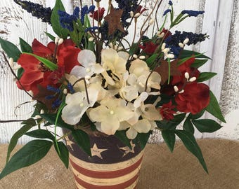 Americana Tin Floral Arrangement, Fourth of July Arrangement, Memorial Day Decor, Stars and Stripes, Red White and Blue, FAAP