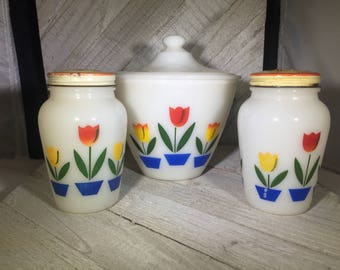 Fire King Tulip Grease Bowl Jar with Lid and Salt and Pepper Shakers with Original Lids