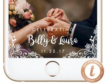 INSTANT DOWNLOAD Snapchat Filter Wedding, White Lace Snapchat Geofilter, Wedding Geofilter, Vintage Snapchat Wedding, Templett, PDF04