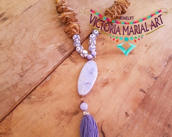 Boho, Chic, Agate, PictureJasper Tassel Necklace. Harmony and balance properties.