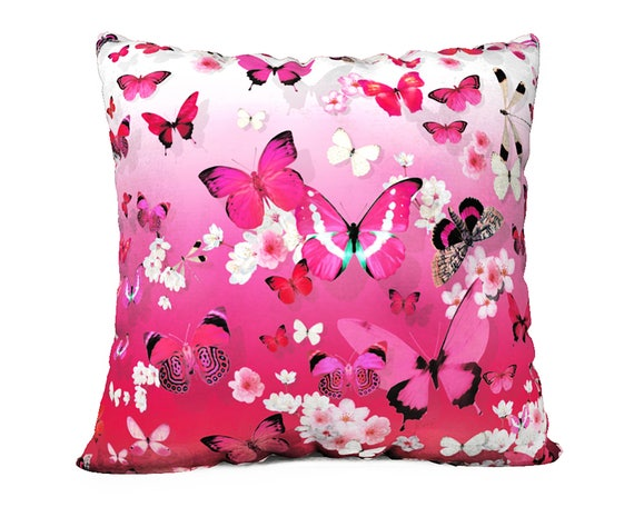 Pink Butterfly & Cherry Blossom Velveteen Pillow Cover - 22inch x 22inch (55cm x 55cm)