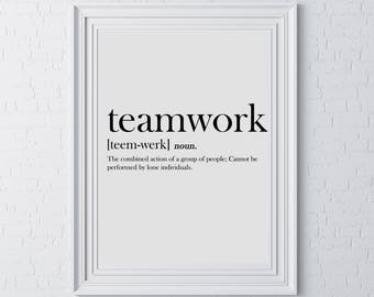 employee motivation typography motivational wall print teamwork definition gift idea team work employee employer home office group dad