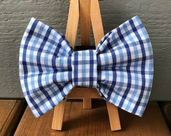 NEW! Blue gingham Dog Bow Tie