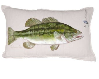"LARGE MOUTH BASS, White Fish Pillow Cover, Gift For Him, Hand Painted Pillow Sham (12"" x 20"")"