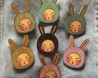 Wooden brooch badge bunny goth kawaii