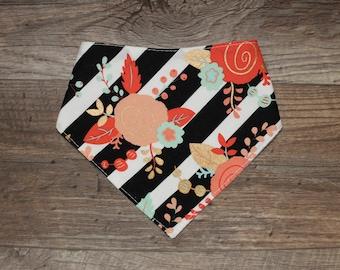 Bandana Bib | Flowers | Chic | Bibdana | Teething | Baby | Drool Bib | Kenton Creations | Perfect Gift | Handmade in Canada