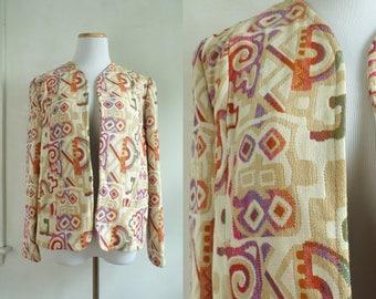 70s southwestern tapestry jacket geometric tribal jacket 1970s woven southwest jacket open front blazer jacket womens small