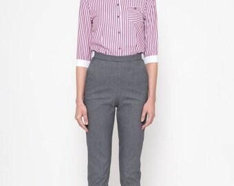 30% OFF Cigarette Pants (Pied-De-Poule) / High Waisted Pants / Slim Fit Pants / 60's Pants / Retro Pants / Vintage Pants