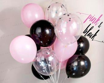 Pink & Black Confetti Balloon Bouquet- Wedding, Birthday, Party, 21st, 30th - AU Free Shipping
