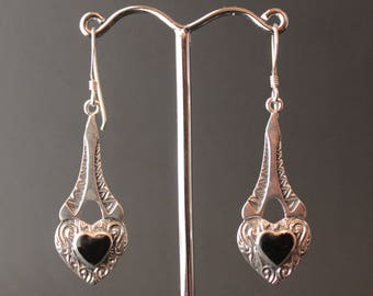 Sterling Silver and Onyx Heart Earrings