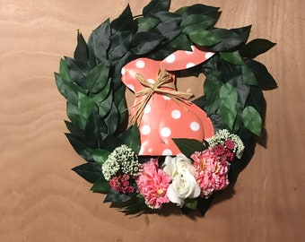 Pink Bunny/Easter/Spring Front Door Wreath