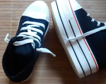 Converse style canvas platform boots, wedge riot grrrl grunge