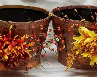 """Small Fall Wooden Planters Pair """"CHRYSANTHEMUMS"""""""