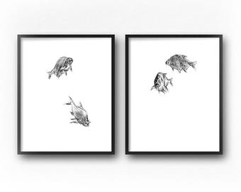 Zen Art, Minimalist Art, Goldfish Art, Fish Art, Wall Art Set, Diptych, Printable Art, Zen Wall Art, Minimalist Print, Art Print, Drawing