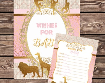 Pink and Gold Safari Well Wishes for Baby, Printable Games Safari Baby Shower Games,  Baby Girl Shower Keepsake Activities Instant Download