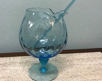 Vintage Blue Pedestal Globe Glass Cocktail Liquor Mixer Pitcher with Swizzle Stick