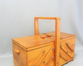 Vintage Sewing box - wood - years 70 - storage box